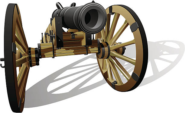 "ancient field gun ""Vector detailed image of typical field gun of times of American Civil War, isolated on white background. File contains gradients. No blends and strokes."" mount combatant stock illustrations"