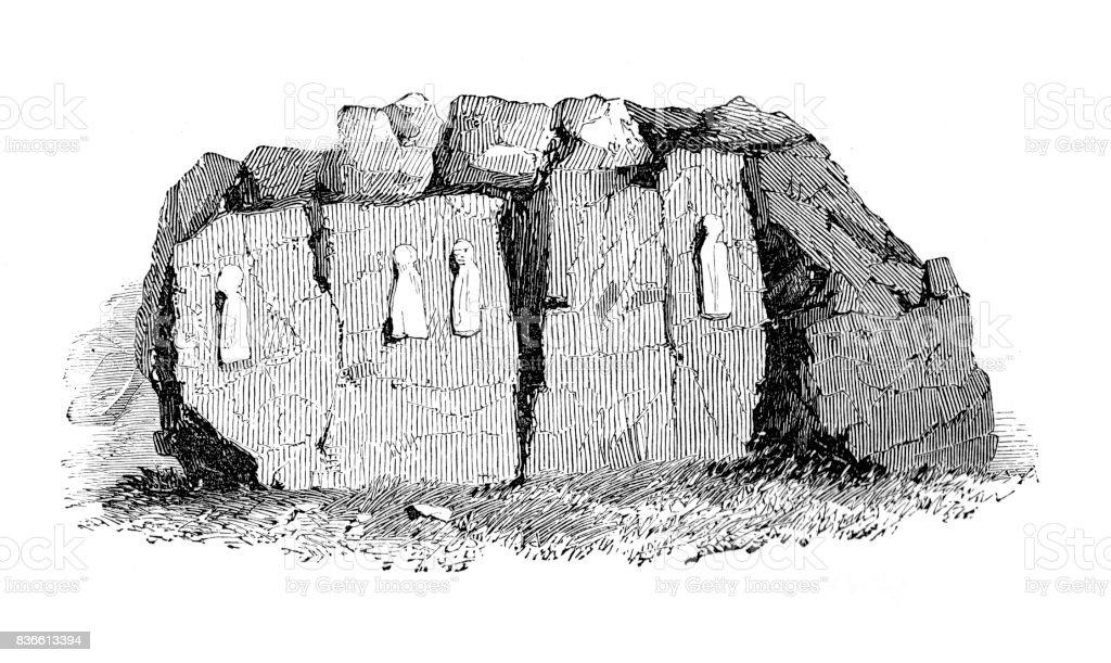 Ancient Figures on Rocks at Kanah Kanha vector art illustration