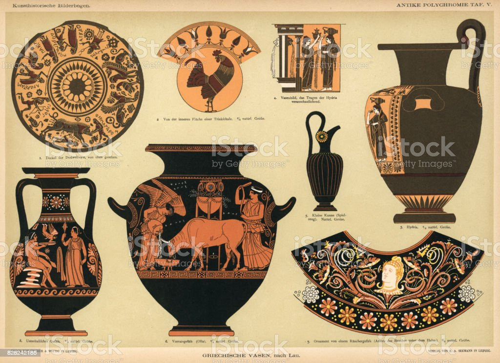 ancient Grecian vases vector art illustration