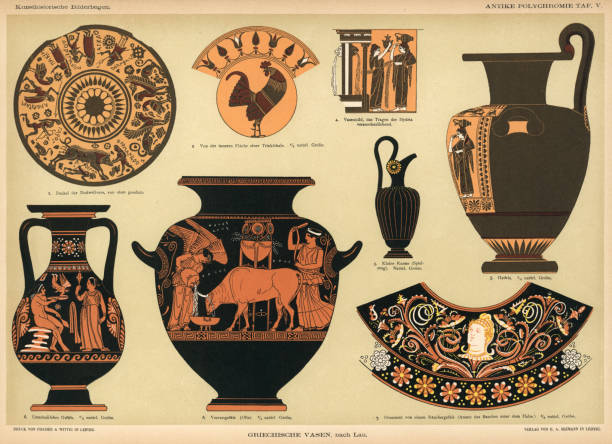 ancient Grecian vases Lithograph of ancient Grecian vases. ancient greece stock illustrations