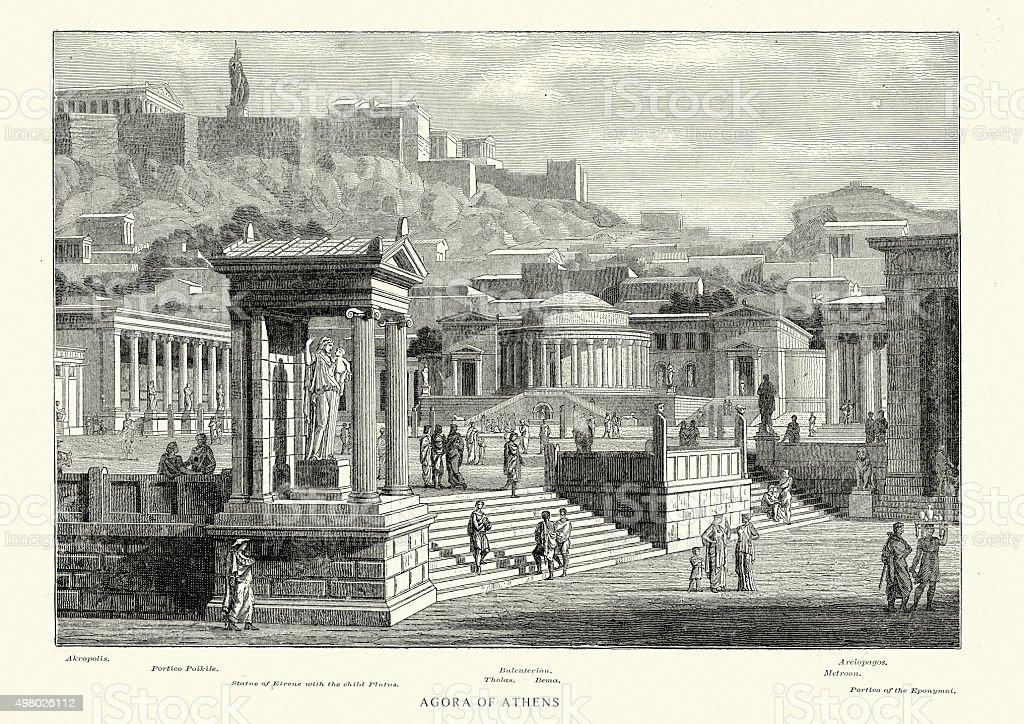 Ancient Greece - Agora of Athens vector art illustration