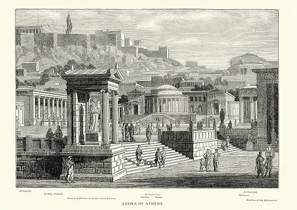 Ancient Greece - Agora of Athens Vintage engraving of the Ancient Agora of Athens. The Ancient Agora of Classical Athens is the best-known example of an ancient Greek agora, located to the northwest of the Acropolis. The Agora was a central spot in ancient Greek city-states. The literal meaning of the word is gathering place or assembly. ancient greece stock illustrations