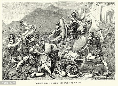 istock Ancient Greece - Aristomenes fighting his wau out of Ira 496511774