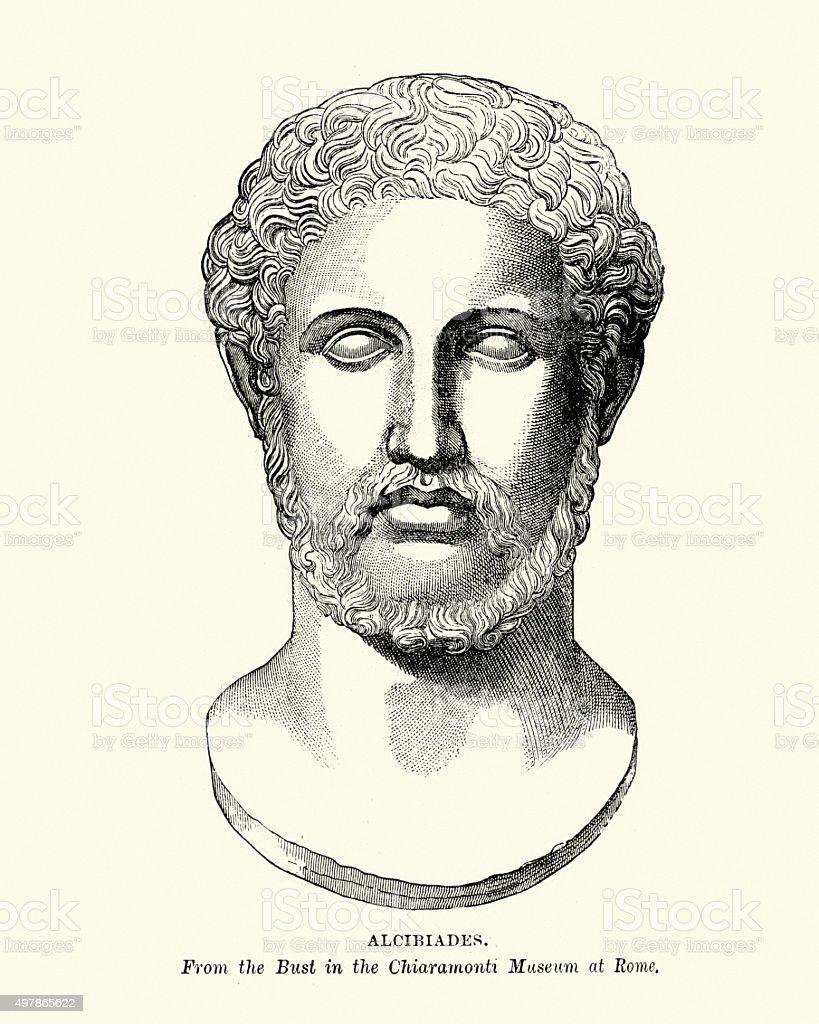 Ancient Greece - Bust of Alcibiades vector art illustration