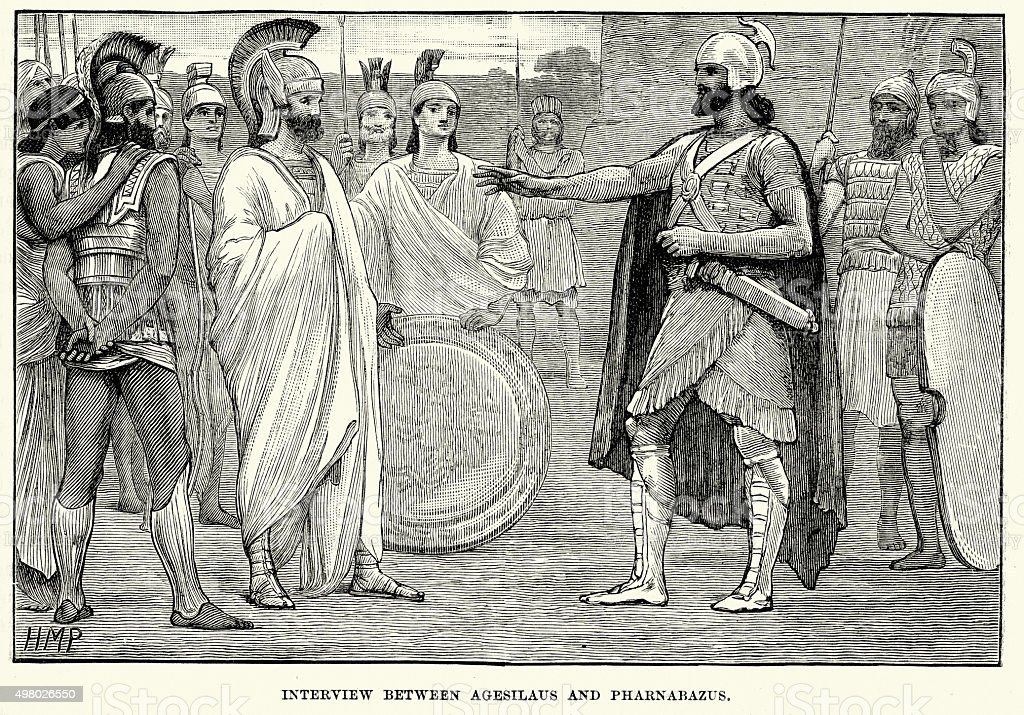 Ancient Greece - Interview between Agesilaus and Pharnabazus vector art illustration