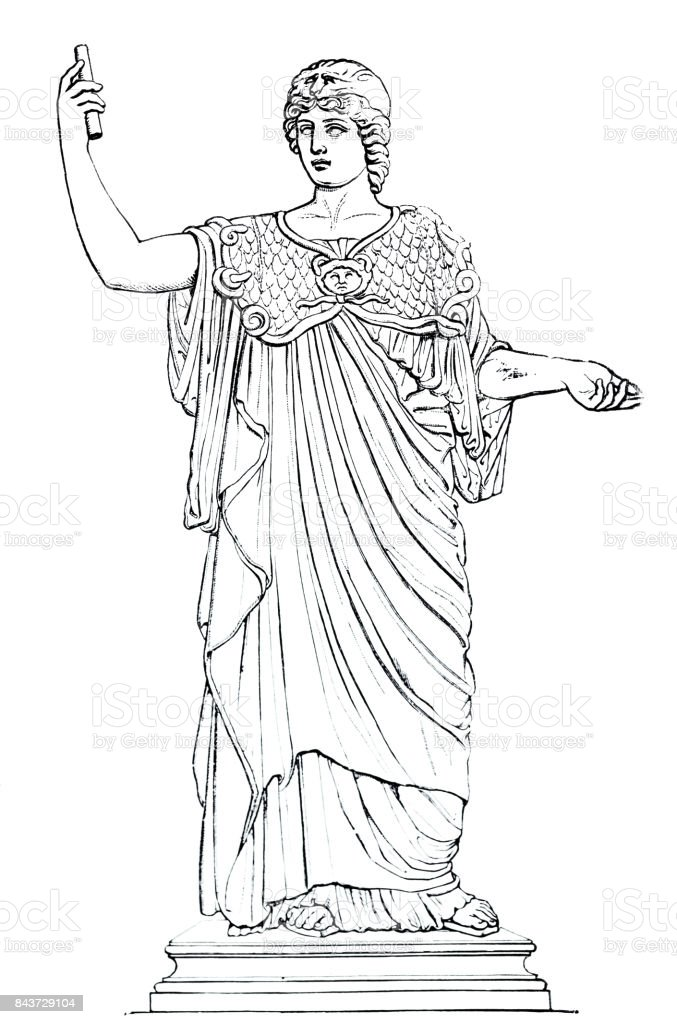 Ancient greece - portrait of Athena vector art illustration
