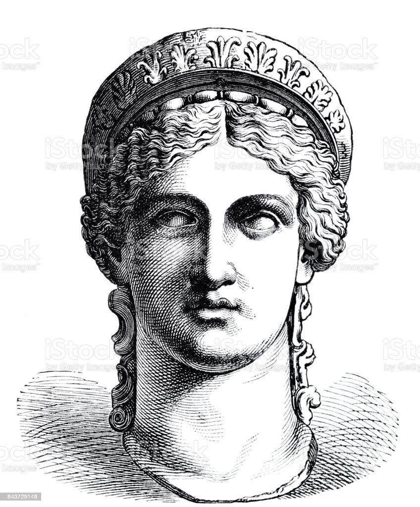 Ancient greece - portrait of Hera vector art illustration