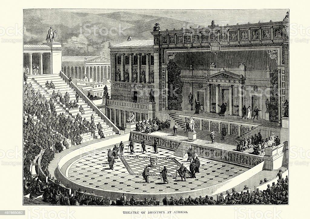 Ancient Greece - Theatre of Dionysus, Athens vector art illustration