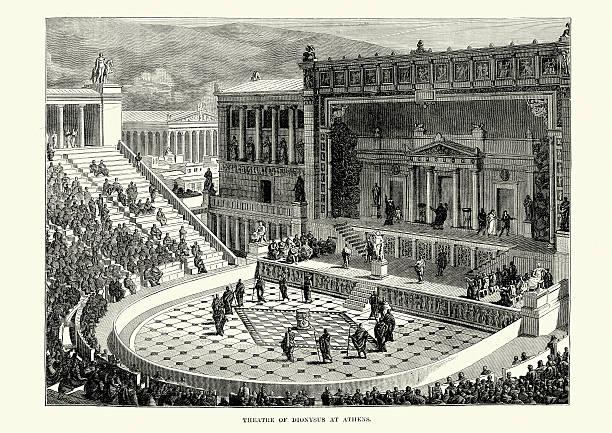 stockillustraties, clipart, cartoons en iconen met ancient greece - theatre of dionysus, athens - athens