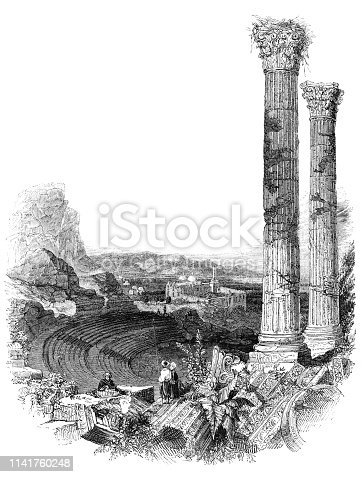 Some of the Ancient Greek amphitheatre ruins at Ephesus in Turkey (Circa 19th century) from the Works of William Shakespeare. Vintage etching circa mid 19th century.