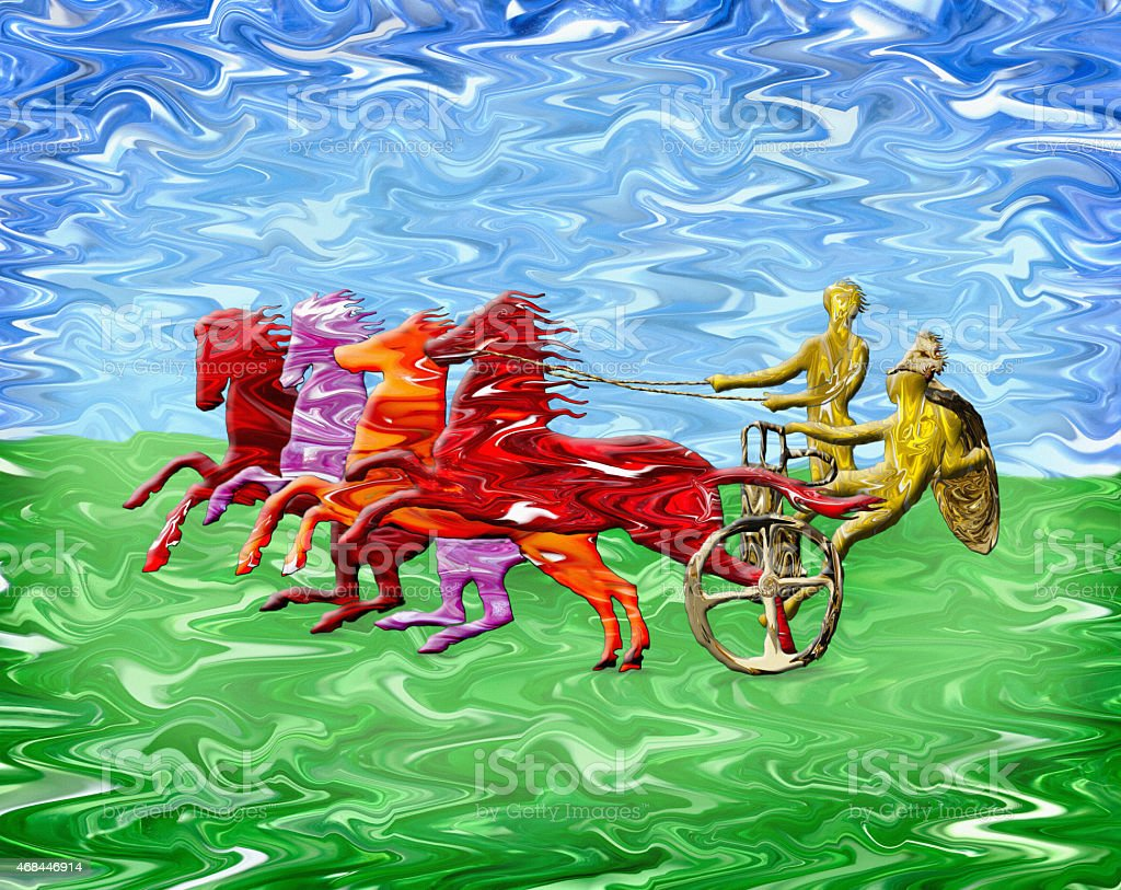 Ancient Greek Chariot Painting vector art illustration