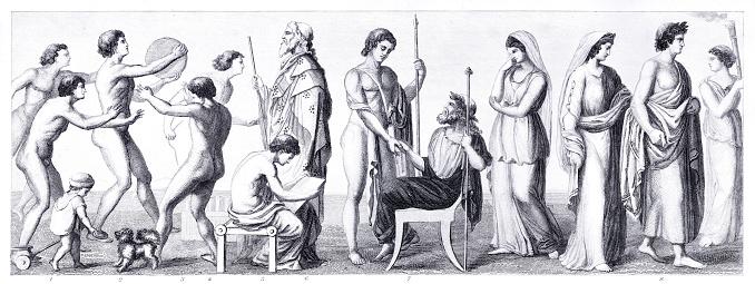 Ancient Greek costumes illustration