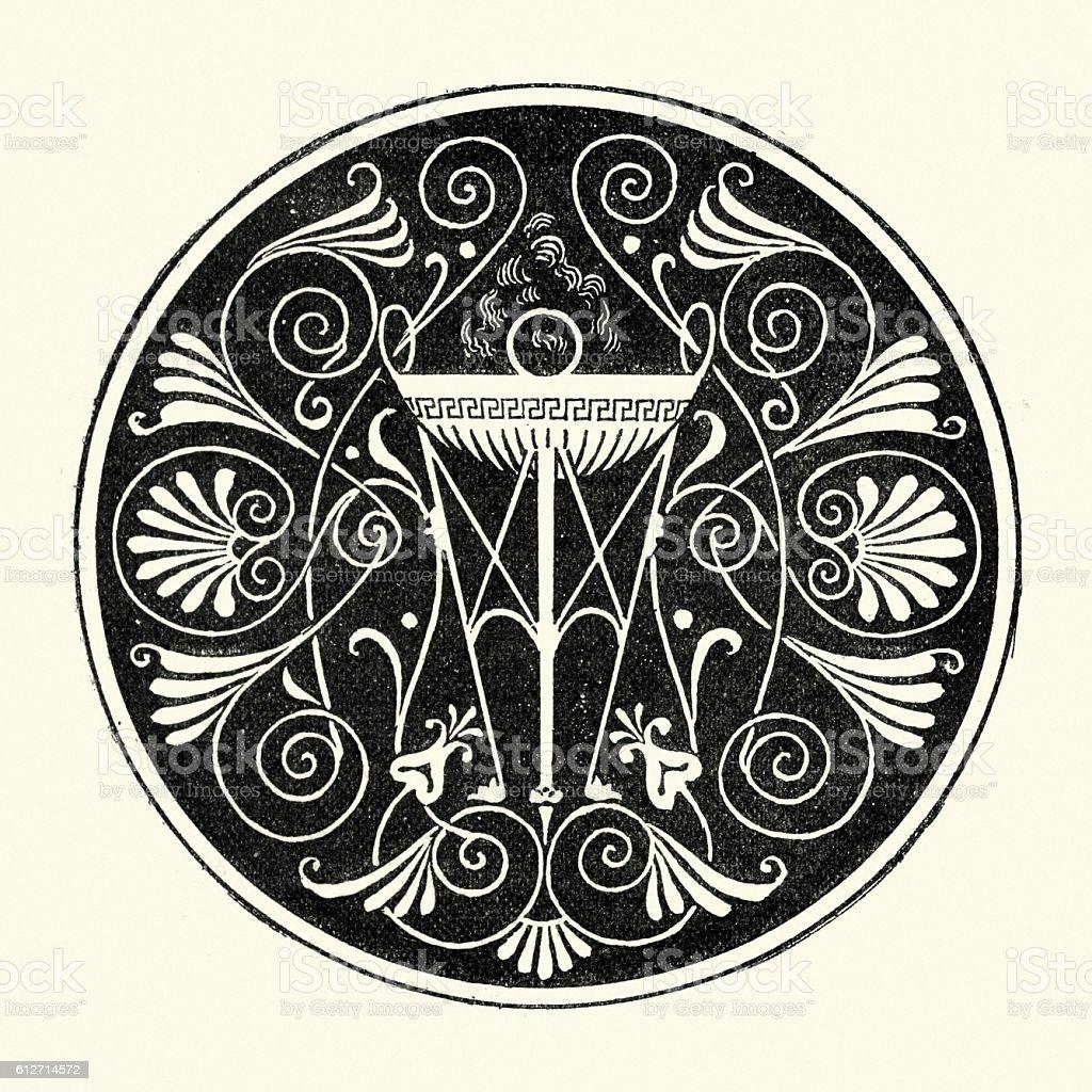 Ancient Greek design feature a tripous vector art illustration