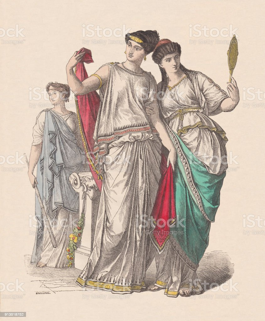 Ancient greek fashion: priestess (left), and noble ladies, published c.1880 vector art illustration