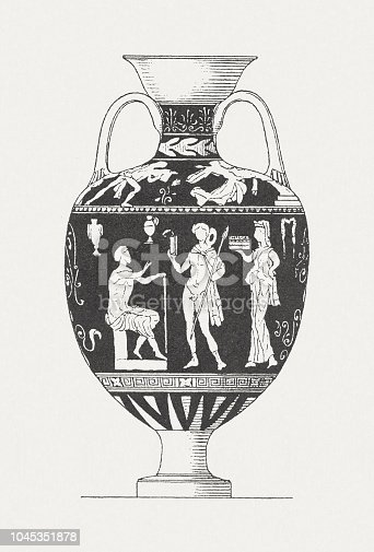 Ancient Greek vase with a painted motif of a messenger scene. Wood engraving after an ancient Greek vase painting in the National Archaeological Museum, Naples, published in 1885.