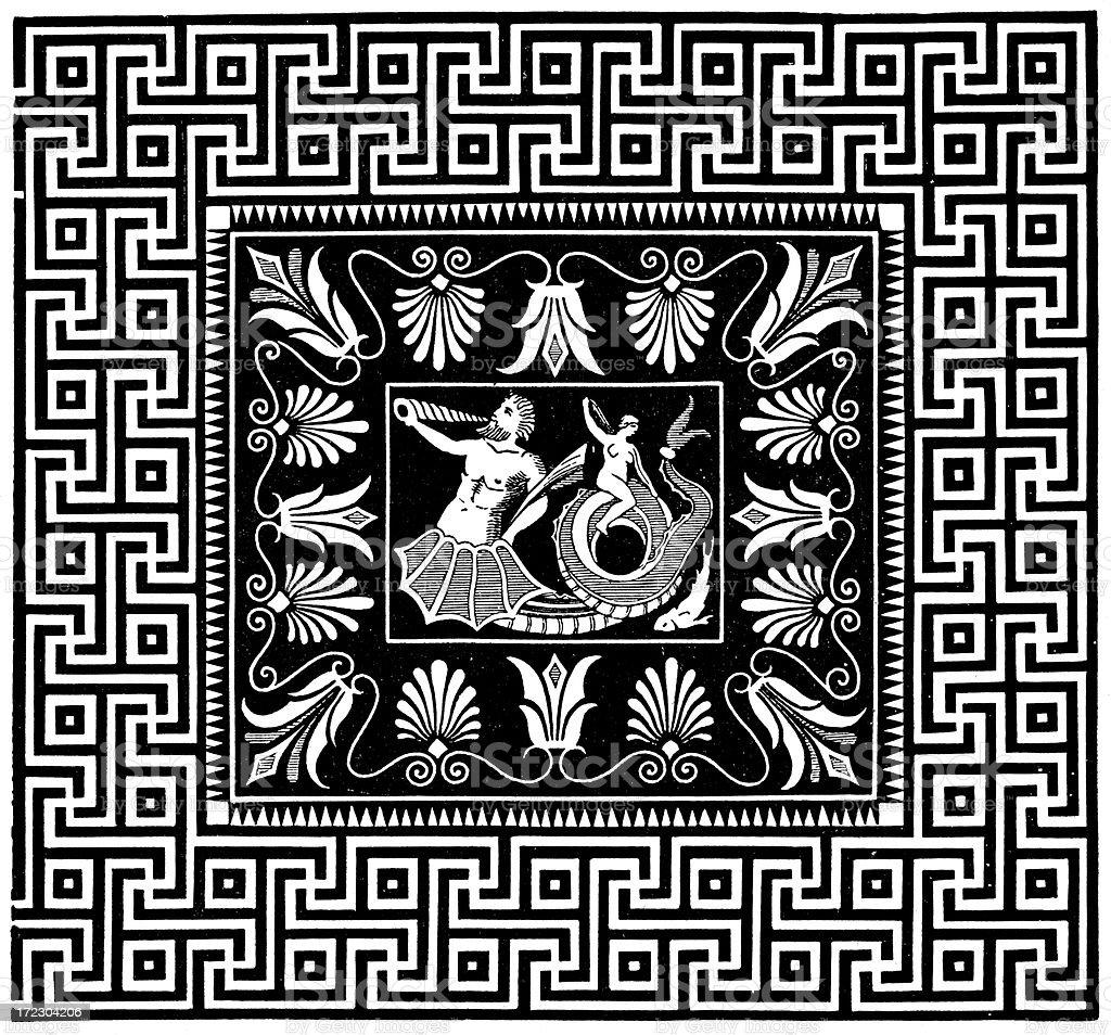 Ancient Greek Mosaic royalty-free stock vector art
