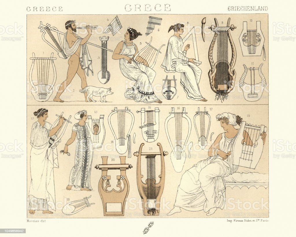 Ancient Greek Musicians And Musical Instruemts Lyre Lute Harp Stock Illustration Download Image Now Istock