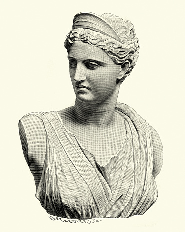 Vintage engraving of Artemis, In the classical period of Greek mythology, Artemis was often described as the daughter of Zeus and Leto, and the twin sister of Apollo. She was the Hellenic goddess of the hunt, wild animals, wilderness, childbirth, virginity and protector of young girls