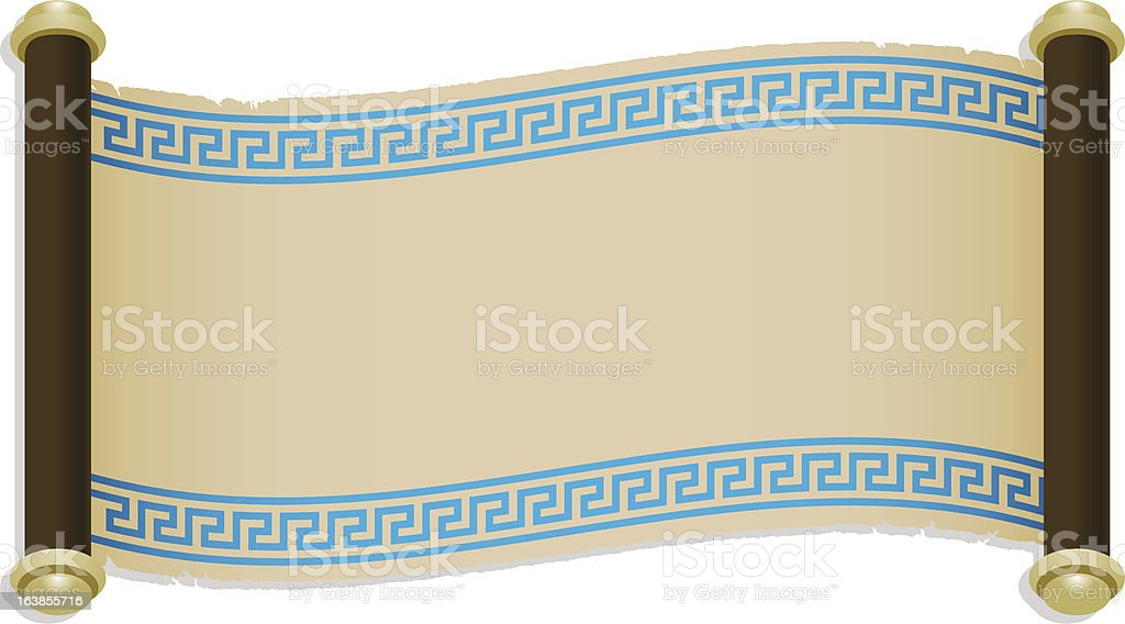 ancient greek parchment scroll vector art illustration