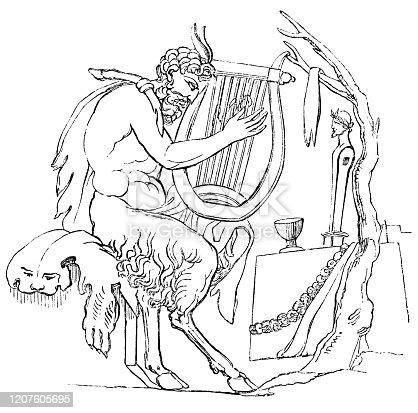 The Ancient Greek mythological spirt Satyr. Vintage etching circa 19th century.