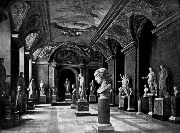 Ancient Greek Sculptures at the Palais du Louvre in Paris, France - 19th Century Ancient Greek sculptures at Palais du Louvre in Paris, France. Vintage etching circa mid 19th century. paris black and white stock illustrations
