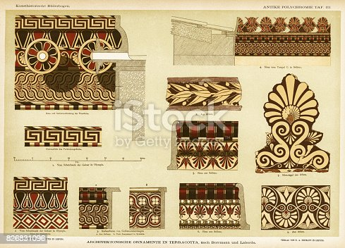Lithograph of terracotta architectureal ornamentation of ancienct Greek temples in Olympia, Selinus, Athens, Greece and Syracuse, Italy.