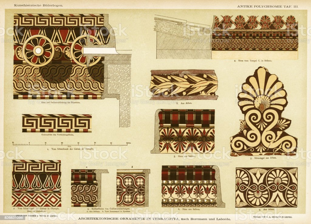 ancient Greek terracotta architectural ornamentation vector art illustration