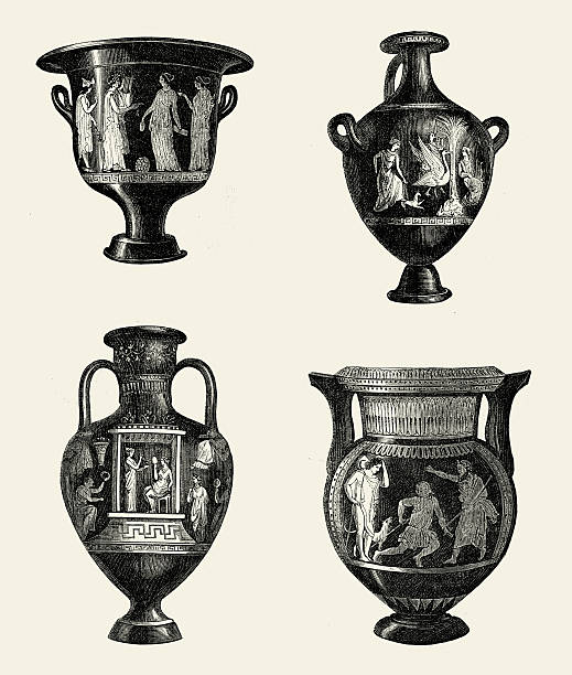 Ancient Greek Urns And Vases Stock Vector Art More Images Of 1850