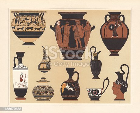 Ancient Greek vases: 1) Krater; 2) Stamnos (storage vessel); 3) Panathenaic amphora, Athens; 4) Bottle; 5) Pitcher; 6) Lekythos (Oil jug); 7) Dodwell vase (Corinth); 8) Oil jug, Athens; 9) Kyathos (dipper); 10) Wine jug. Chromolithograph after ancient vessels, published in 1897.
