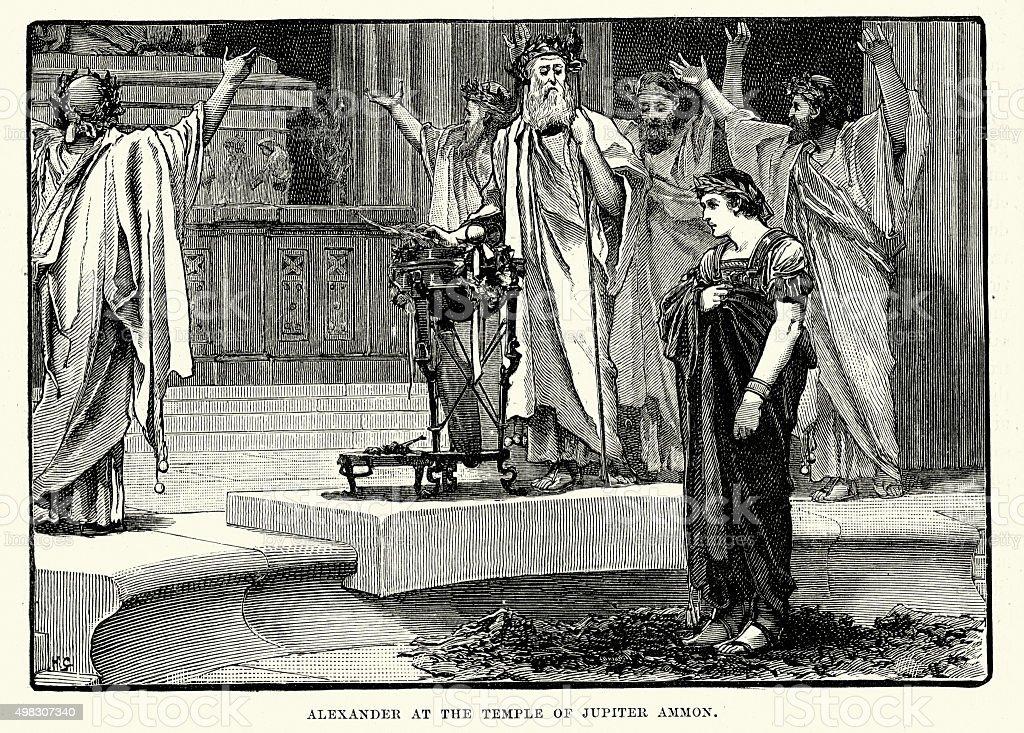 Ancient History - Alexander at the Temple of Jupiter Ammon vector art illustration