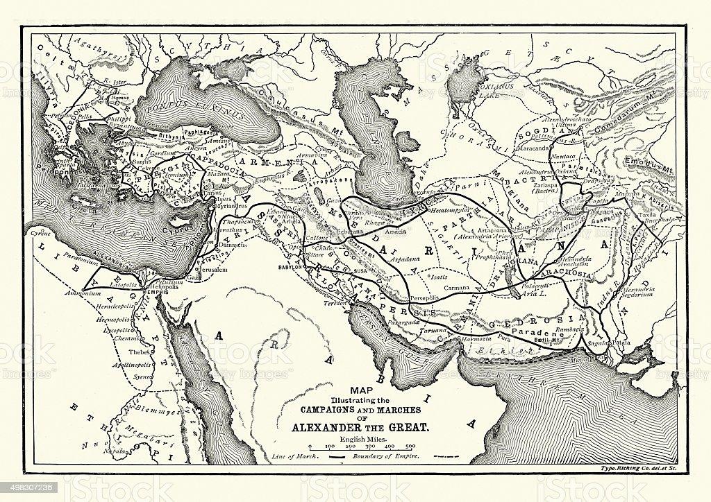 A história antiga-Mapa de Alexandre o Grande campanhas - ilustração de arte em vetor