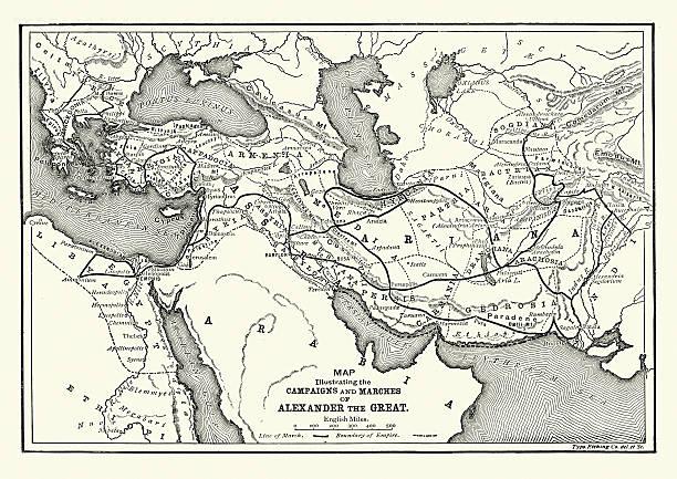 ilustrações, clipart, desenhos animados e ícones de a história antiga-mapa de alexandre o grande campanhas - mapa do oriente médio