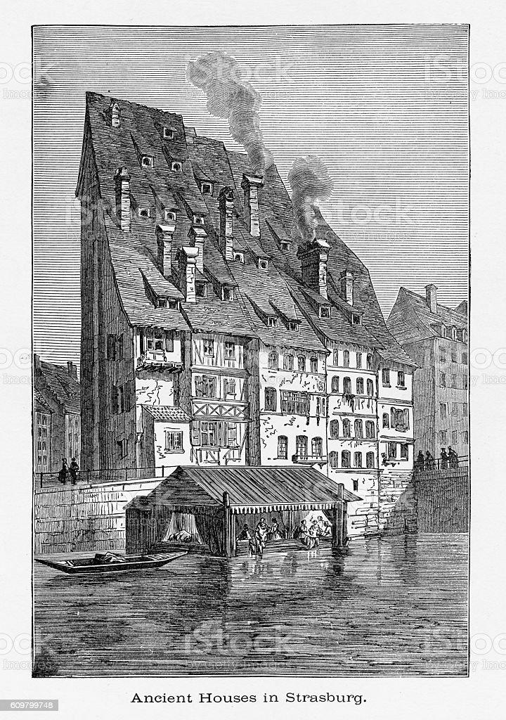 Ancient Houses in, Strasburg, Strasbourg, Germany, Circa 1887 - Illustration vectorielle