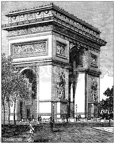 Antique illustration: Arc de Triomphe de l'Étoile, Paris