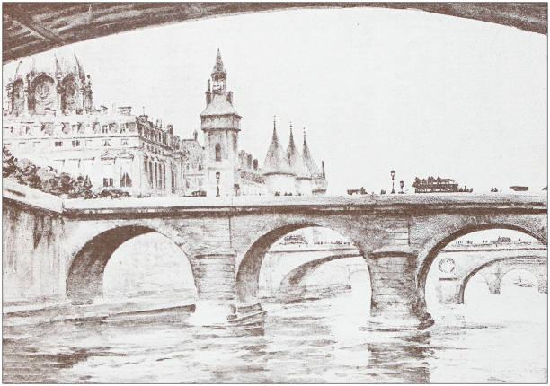 Ancient illustration: Notre Dame Bridge Antique illustration: Pont Notre Dame seine river stock illustrations