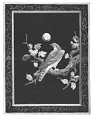Ancient Japanese black lacquer panel encrusted with gems, ivory and tourtoseshell. Depicting a falcon perched on a tree branch. Vintage etching circa mid 19th century.