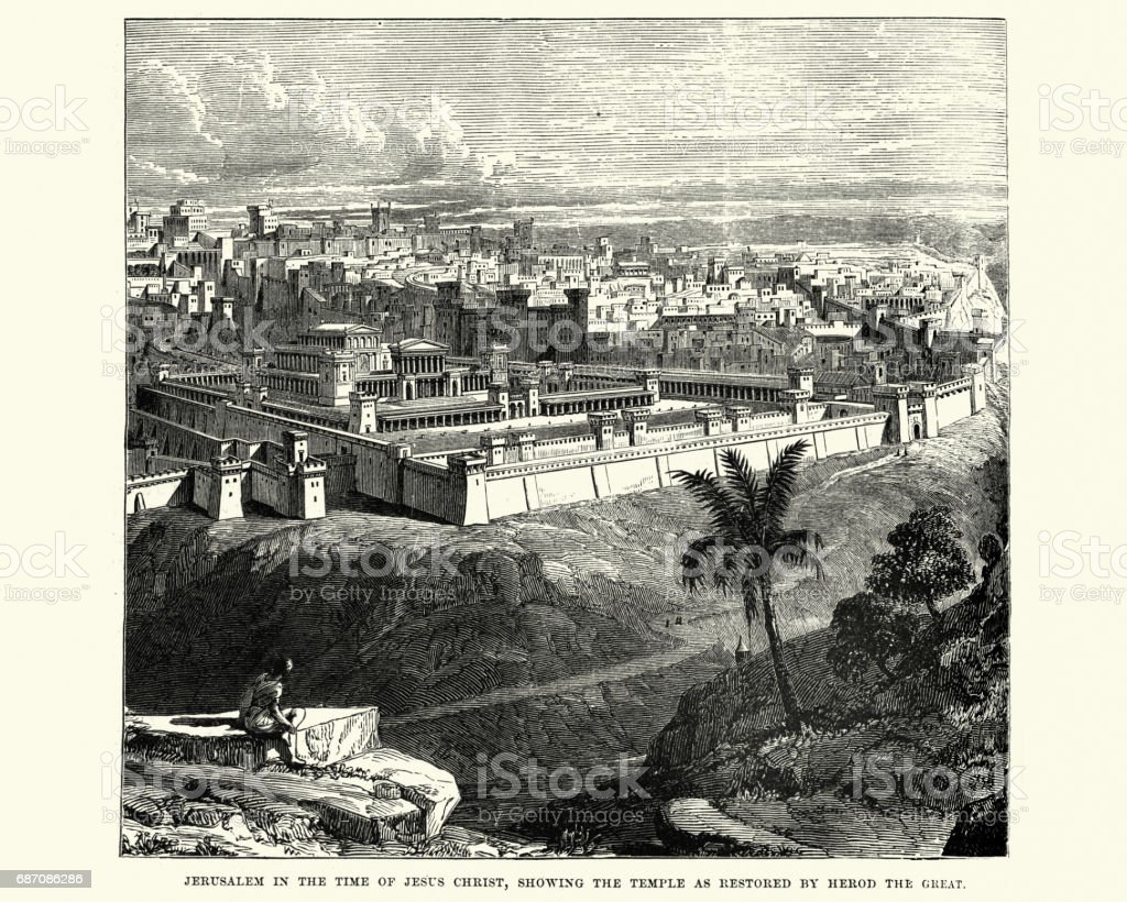 Ancient Jerusalem, showing the Temple restored vector art illustration
