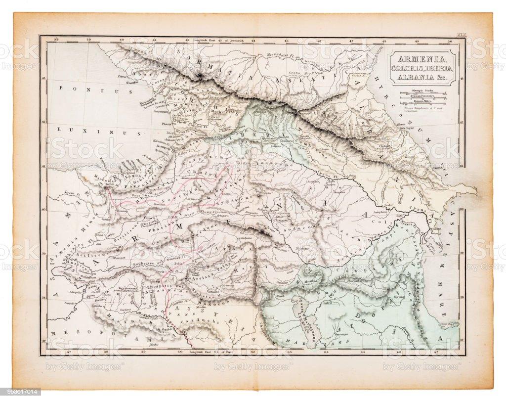 Alte Karte Von Armenien Und Albanien 1863 Stock Vektor Art Und Mehr Bilder Von Albanien Istock