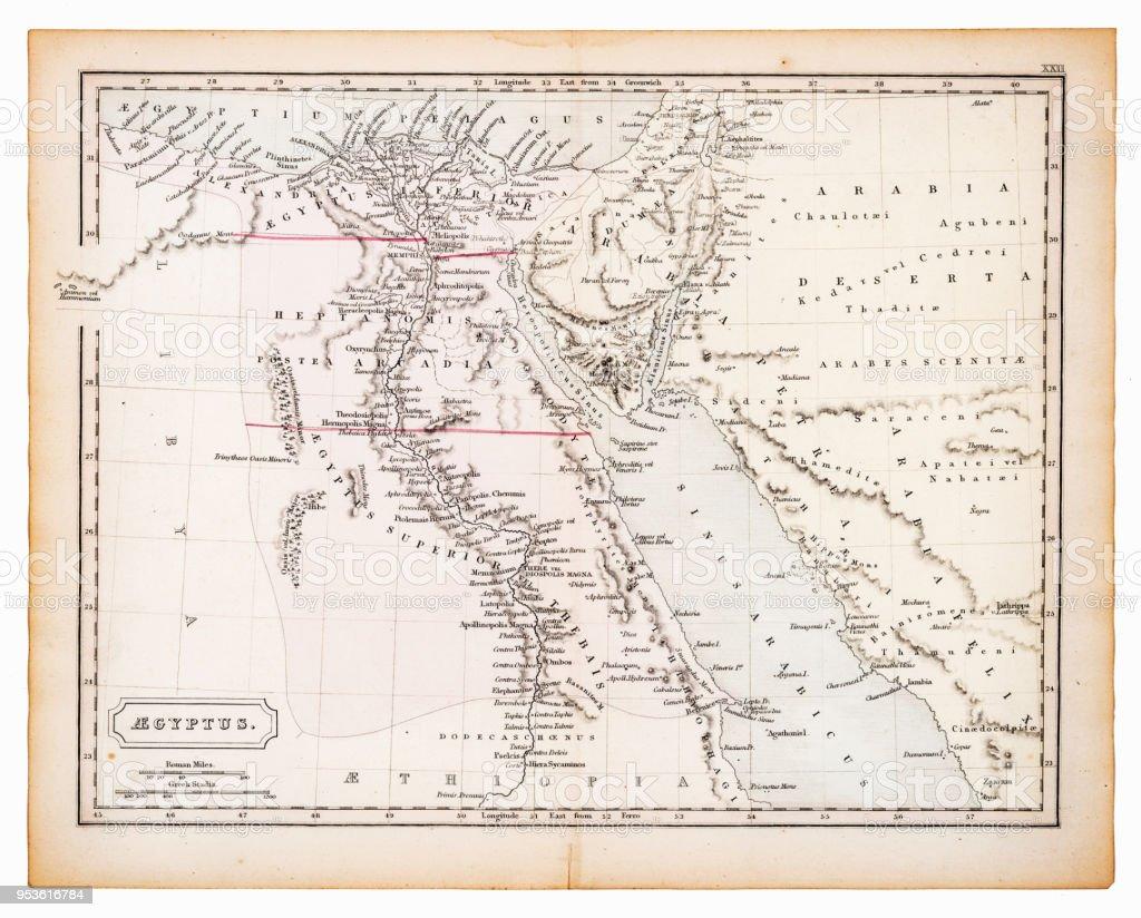 Ancient map of Egypt 1863 vector art illustration