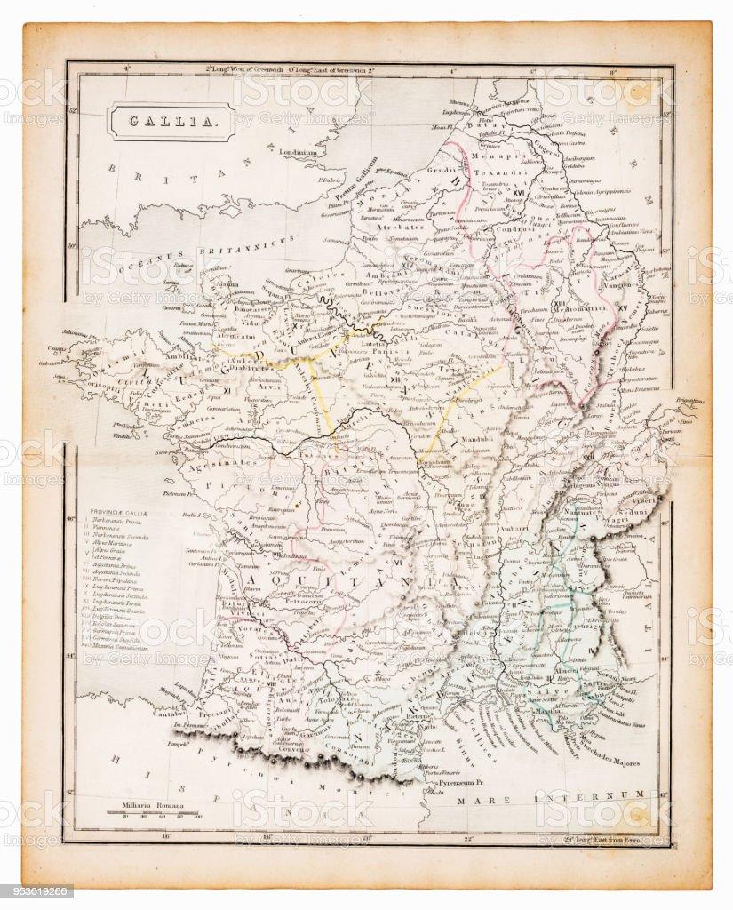 Ancient map of Gallia 1863 vector art illustration
