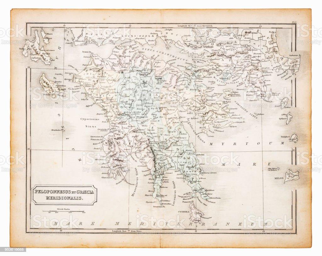 Peloponnes Karte.Alte Karte Von Griechenland Und Der Peloponnes 1863 Stock Vektor Art