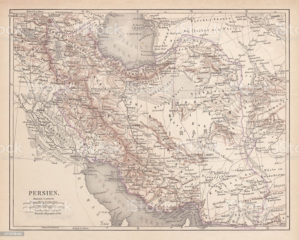Ancient map of Persia, lithograph, published in 1877 vector art illustration