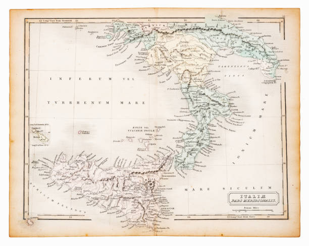 illustrazioni stock, clip art, cartoni animati e icone di tendenza di ancient map of southern italy 1863 - calabria map