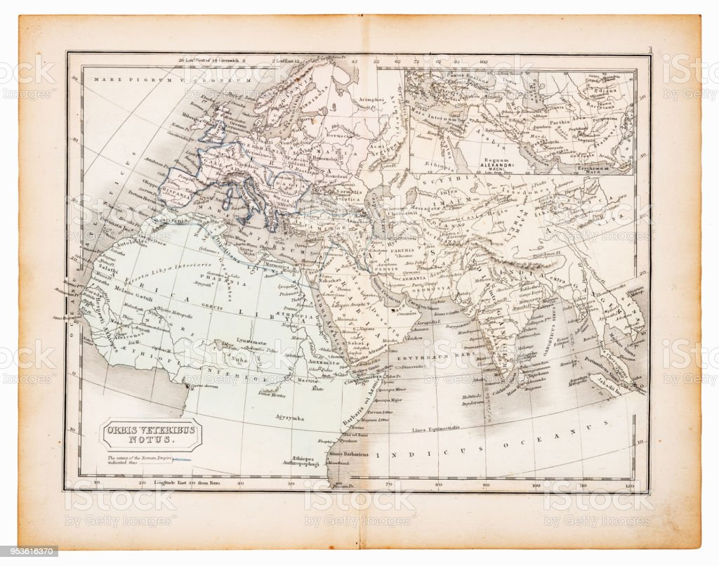 Ancient map of the know world 1863 vector art illustration