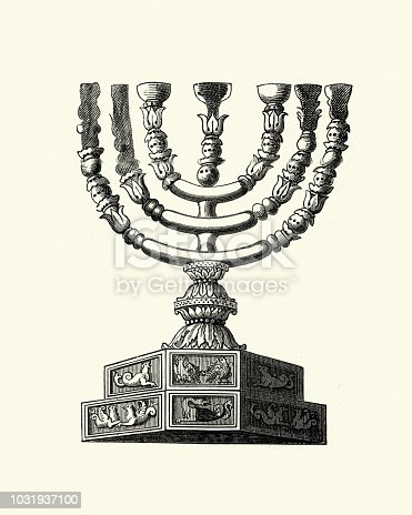 Vintage engraving of the Ancient Menorah of the Temple. described in the Bible as the seven-lamp (six branches) ancient Hebrew lampstand made of pure gold and used in the portable sanctuary set up by Moses in the wilderness and later in the Temple in Jerusalem.