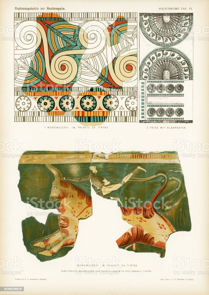 ancient Mycenaean frescos and frieze in Tiryns vector art illustration
