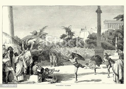 Vintage engraving of the Ancient Olympic Games. The Olympic Games were a series of athletic competitions among representatives of city-states and one of the Panhellenic Games of Ancient Greece.