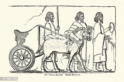 Vintage illustration of Ancient Persian chariot from a bas-relief