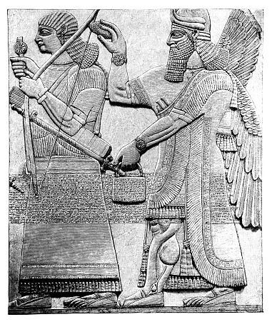 Illustration of a Ancient relief from Dur-Sharrukin (Khorsabad, Iraq) from palace of Sargon II king of Assyria
