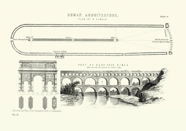 stockillustraties, clipart, cartoons en iconen met oude romeinse architectuur, circus, boog van constantijn, pont du gard - pont du gard